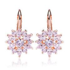 Elegante Damen Ohrringe Creolen mit Zirkonia weiß 750er Rosegold 18K vergoldet