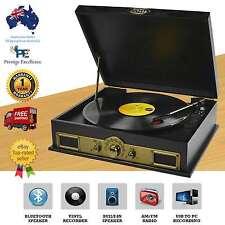 5c579aab34fa2 Vintage Record Player Vinyl Turntable USB AM FM Radio Wireless Bluetooth  Speaker