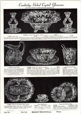 1939 PAPER AD Cambridge Etched Crystal Glass Bowl Candlestick Water Jug Pitcer