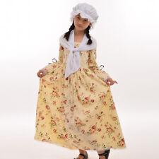 Reenactment Girl's Colonial Kids Costume Pioneer Dress Puritan Skirt Civil War