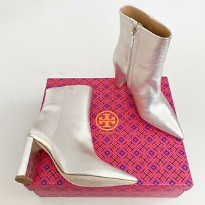 Tory Burch Size 8.5 Penelope 90MM Metallic Calf Leather Point Bootie Spark Gold