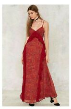 new NASTY GAL Red Paisley Maxi Dress size L