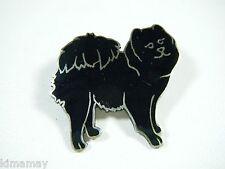 ANTIQUE HALLMARKED CHARLES THOMAE STERLING ENAMEL BLACK CHOW DOG PIN