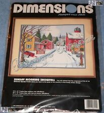 Dimensions SUNDAY MORNING SNOWFALL Stamped Cross Stitch Picture Kit – 1990