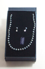 Fresh Water Pearl Necklace & Earrings Set Black NIB