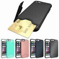 Hybrid Armor Card Holder Stand Hard Case For Apple iPhone 7 8 Plus Bumper Cover
