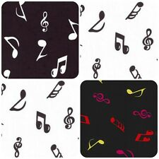 100% Cotton Poplin Fabric Rose & Hubble Musical Notes Print Craft Dress Material