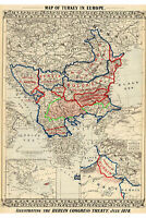 Map of Turkey in Europe; Berlin Congress Treaty of 1878; Antique Reproduction