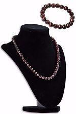 """Handmade Natural Dark Red Garnet Round Gemstone Bead Necklace 19"""" Bracelet Set"""
