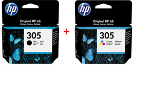 PACK 2x CARTOUCHE HP NOIRE + COULEUR 305 / 3ym60ae + 3ym61ae noir de deux pas xl