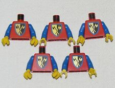 LEGO LOT OF 5 CRUSADER CASTLE MINIFIGURE TORSOS WITH AXE CROSS PATTERN
