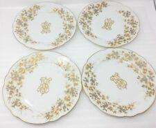 "(4) Carl Knoll Carlsbad 9-11/16"" Luncheon Plates Gold Trim Monogram"