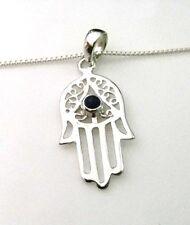 Sterling Silver Hamsa Hand of Fatima Pendant with Lapis Lazuli Stone & Chain
