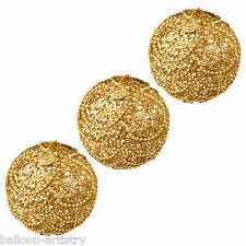 3 Christmas GOLD Elegant Waltz Round 8cm Glitter Baubles Tree Decorations