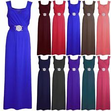 Womens Maxi Dress Ladies Long Bridesmaid Party Cocktail Evening Prom Buckle Date