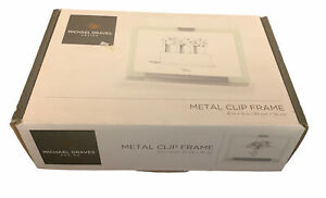"""Michael Graves Design Metal Clip Picture Frame 4x6"""" Glass Double Sided BRAND NEW"""