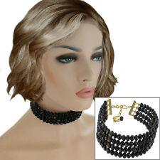 Black Beaded Four Strand Choker Necklace