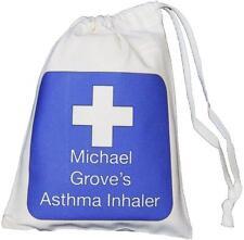 Personalizzata Blue Cross-Inalatore per asma e piccolo Distanziatore Bag - 14x20cm vuoto