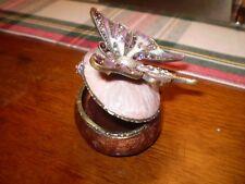 Danish cristal Autrichien céramique rose papillon Bibelot box.shipped SUIVI