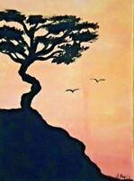 Original ACEO - Sunset - miniature acrylic painting,