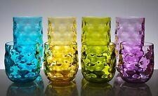 QG Clear Colorful Acrylic Plastic 14 & 23oz. Cup Drinking Glass Tumbler Set of 8