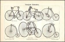 OLD BICYCLES - Original 1880's vintage German engraving print