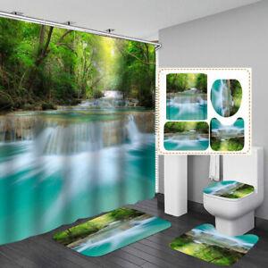 Nature Stream Waterfall Bath Mat Toilet Cover Rugs Shower Curtain Bathroom Decor