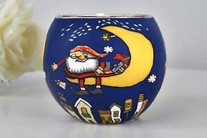 Leuchtglas 21824 Motiv Santa auf dem Mond 11cm Windlicht Kerzenhalter