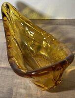 Vintage Italian Murano Hand Blown Glass Pipe Ashtray Amber Gold