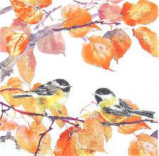 5 Servietten Herbst Vögel Meisen Ast Zweig Blätter Laub Serviettentechnik