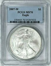 2007-W $1 American Silver Eagle Dollar PCGS MS70 (TY-7033) 99c NO RESERVE