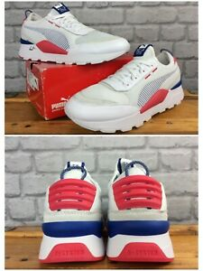 PUMA MENS UK 11 EUR 46 RS 0 TECH CORE WHITE BLUE RED TRAINERS RRP £90 LG