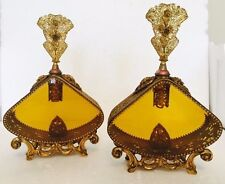 Pair of Antique Beveled Amber Glass and Solid Brass Perfume Decanters