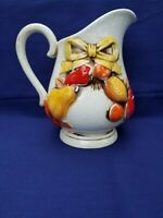 Vintage Mid Century Napcoware Made in Japan pitcher with raised fruit