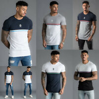 Gym King Mens Short Sleeve Crew Neck Block Panel Taped New Slim Fit T shirt Tee
