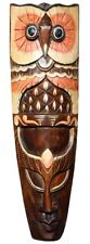 Schöne 50 cm Eule Holz Maske Owl Afrika Wandmaske Handarbeit Bali Maske84