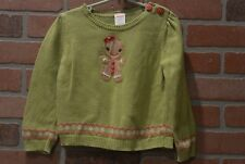 Gymboree Gingerbread Girl Green Sweater 3T Toddler Girls Christmas Holiday Top