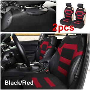 2PC Car Universal Front Seat Cover Interior Seat Cushion Protector Black / Red