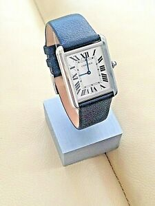 Elegant Buffalo grain Leather  Watch Strap for Cartier Tank Solo Mens and ladies