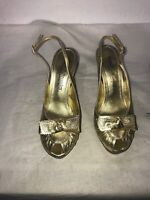 Russell & Bromley Ladies Gold Leather Ladies Sandals Uk 4 Rrp 195.00 Ref Bo18