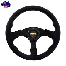 NEW RACER II BLACK 320mm SPORT STEERING WHEEL WITH HORN BUTTON (8907)