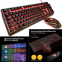 Keyboard Mouse Set Pad for PC PS4 PS3 Xbox One Gaming Rainbow Backlit Mechanical