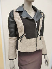WOMENS BLACK / STONE MIX LEATHER LOOK JACKET - SIZE 8