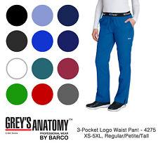 Grey's Anatomy Women's 4275 3 Pocket Logo Waist Scrub Pant-New-Free Ship