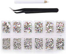 4200 Pieces Flat Back AB Crystal Nail Art Rhinestones for Nail Art Decorations,