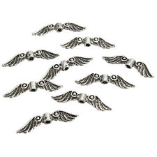 20Pcs Silver Tone Angel Fairy Wings Charm Spacer Beads For Jewelry DIY Craft