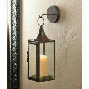 Brown Iron Hanging Sconce Candle Holder Lantern And Hook Artisanal Decor Light