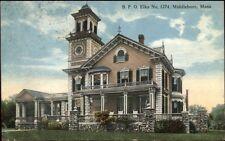Middleboro Ma Bpo Elks Home c1910 Postcard