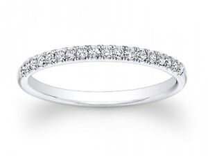 0.65ct Round Cut Stackable Bridal Wedding Petite Anniversary Band 14k White Gold