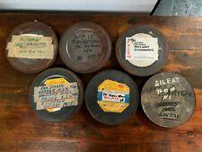 Lot of 6 x 16mm 400ft FILM TINS CANS movie cinema mancave industrial design rust